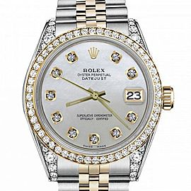 Men's Rolex 36mm Datejust Two Tone Bezel & Lugs White MOP Mother Of Pearl Dial with Accent Hidden Clasp
