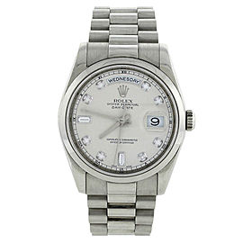 Rolex 118206 President 18K White Gold Silver Diamond Mens Watch