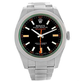 Rolex Milgauss Domed Bezel Green Crystal Stainless Steel Watch 116400V