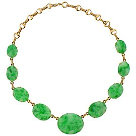 Tiffany & Co. Art Deco Jade Gold Necklace