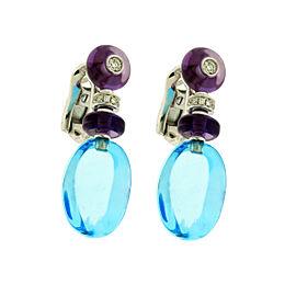 Bulgari 18k White Gold Diamond & Blue Topaz Earrings