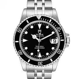 Tudor Submariner Prince Date Black Dial Steel Mens Watch 75190 Box Papers