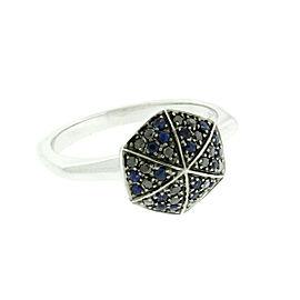 Stephen Webster 18K White Gold Blue Sapphire & Black Diamond Ring