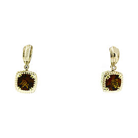 Charles Krypell 14K & Sterling Silver Brown Quartz Earrings