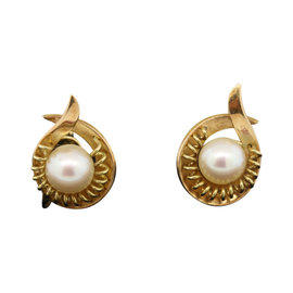 Mikimoto 14K Yellow Gold Non Pierced Screw Back Stud Pearl Earrings