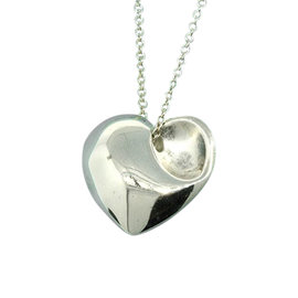 Tiffany & Co. Sterling Silver 925 Floating Puff Heart Corner Necklace