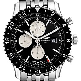 Breitling Chronoliner Black Dial Steel Mens Watch