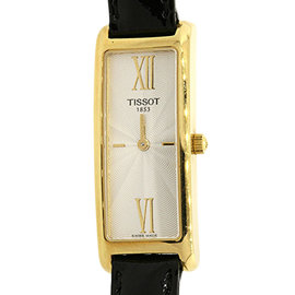 Tissot 18K Yellow Gold Rectangle Black Patent Leather Strap Womens Watch