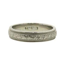 Tacori Platinum Etched Floral Design Wedding Band Ring