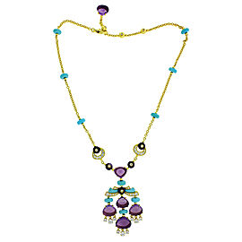 Bvlgari 18k Yellow Gold Mediterranean Eden Diamond Amethyst & Turqoise Necklace