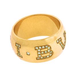 Bulgari 18K Rose Gold With Pave Diamond Monologo Ring