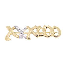 Tiffany & Co. Paloma Picasso 18K Yellow Gold & 0.18ctw Diamond XO Pin Brooch