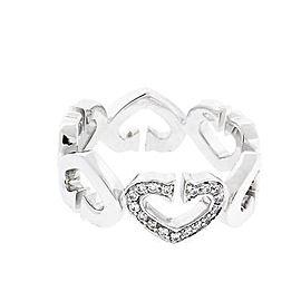 "Cartier ""C heart"" Diamond 18K White Gold Ring Size 5.75"