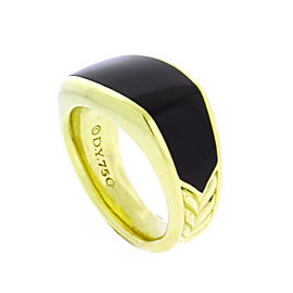 David Yurman 18K Yellow Gold 3 Sided Onyx Ring