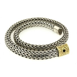 John Hardy 925 Sterling Silver 18K Yellow Gold Woven Choker Necklace