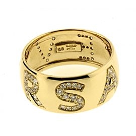 Versace 18K Yellow Gold Pave Diamond Logo Ring Size 6.25