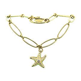 Tiffany & Co. 18K Yellow Gold Elsa Peretti Diamond Starfish Charm Link Bracelet