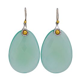Gurhan 24K Yellow Gold & Sterling Silver Egg Shape Diamond & Aqua Calcedoney Earrings