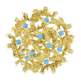 Tiffany & Co. 18K Yellow Gold Turquoise Brooch