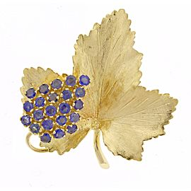 Tiffany & Co. 18K Yellow Gold Sapphire Maple Leaf Brooch