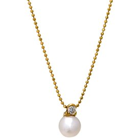 Mikimoto 18K Yellow Gold Diamond & Akoya Pearl Solitaire Necklace