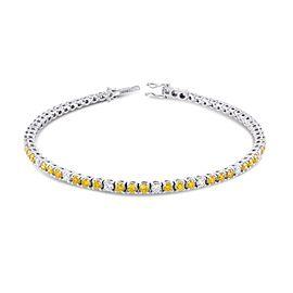 Leibish 18K White Gold with 3.37ctw Diamond Tennis Bracelet