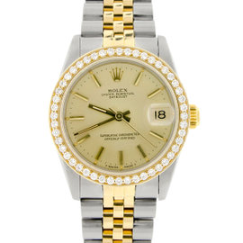 Rolex Datejust Two-Tone Gold/Stainless Steel Diamond Bezel Champagne Dial 31mm Watch