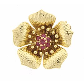 Tiffany & Co. 18K Yellow Gold Ruby Dogwood Brooch
