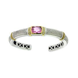 Judith Ripka 18K Gold and Silver Diamond & Pink Crystal Hinged Bangle