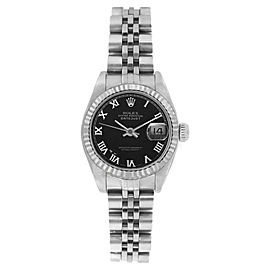 Rolex Datejust 6916 Stainless Steel Jubilee Black Roman Dial 18K Gold Fluted Bezel 26mm Womens Watch