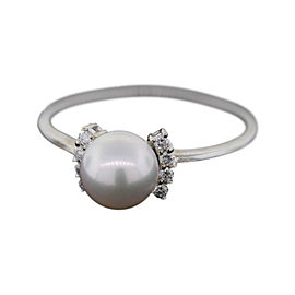 Mikimoto Blue Lagoon 14K White Gold Pearl 0.08ct Diamond Ring Size 7.5