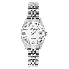 Rolex Datejust 6916 Stainless Steel Jubilee White Roman Dial 18K Gold Fluted Bezel 26mm Womens Watch