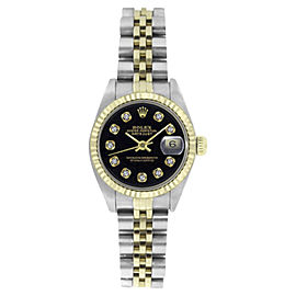 Rolex Datejust 6917 Stainless Steel and 18K Gold Jubilee Black Diamond Dial 26mm Womens Watch
