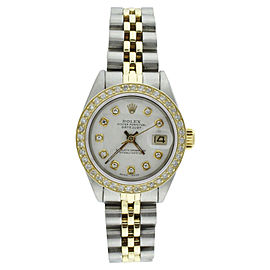 Rolex Datejust 6917 18K Yellow Gold Diamond Bezel White Diamond Dial 26mm Womens Watch