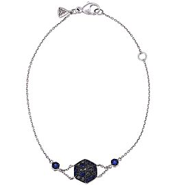 "Stephen Webster 18K White Gold ""Deco"" Pave Blue Sapphire & Black Diamond Bracelet"