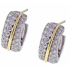 Cartier Platinum and 18K Yellow Gold Diamond Hoop Earrings