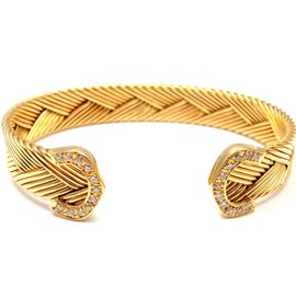 Cartier 18K Yellow Gold Double C Diamond Basket Weave Cuff Bracelet Size 6.75""