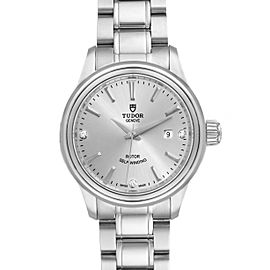 Tudor Style 28mm Silver Diamond Dial Steel Ladies Watch