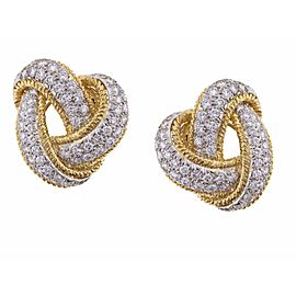 David Webb 18K Yellow gold with Diamond Earrings