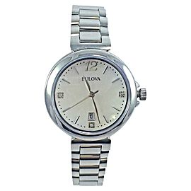 Bulova 96P149 Stainless Steel Crystal Accented Mother of Pearl Dial Womens Watch