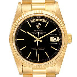 Rolex President Day-Date 36 Yellow Gold Black Dial Watch