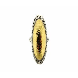 John Hardy Palu 22K Yellow Gold Sterling Silver Tall Ring Size 11.5
