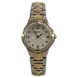 Bulova 98R166 Stainless Steel Yellow Gold Tone Mother Of Pearl Dial 26mm Womens Watch
