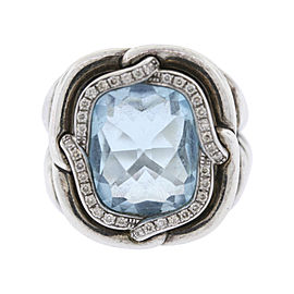 David Yurman 925 Sterling Silver with Blue Topaz & .20ct Diamond Ring Size 5.5