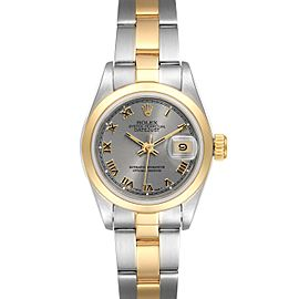 Rolex Datejust Steel Yellow Gold Slate Roman Dial Ladies Watch 69163