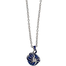 Stephen Webster 925 Sterling Silver Forget Me Knot Blue Fashion Rock Enamel Bow Necklace