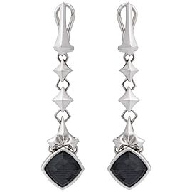 Stephen Webster 925 Sterling Silver Superstud Grey Crystal Haze Dagnle Earrings