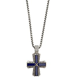 Stephen Webster 925 Sterling Silver Highwayman Lapis Cross Necklace