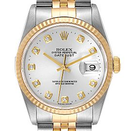 Rolex Datejust Steel Yellow Gold Silver Diamond Dial Watch 16233