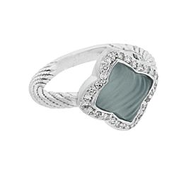 David Yurman 18K White Gold Quatrefoil Diamond & Blue Chalcedony Ring Size 6